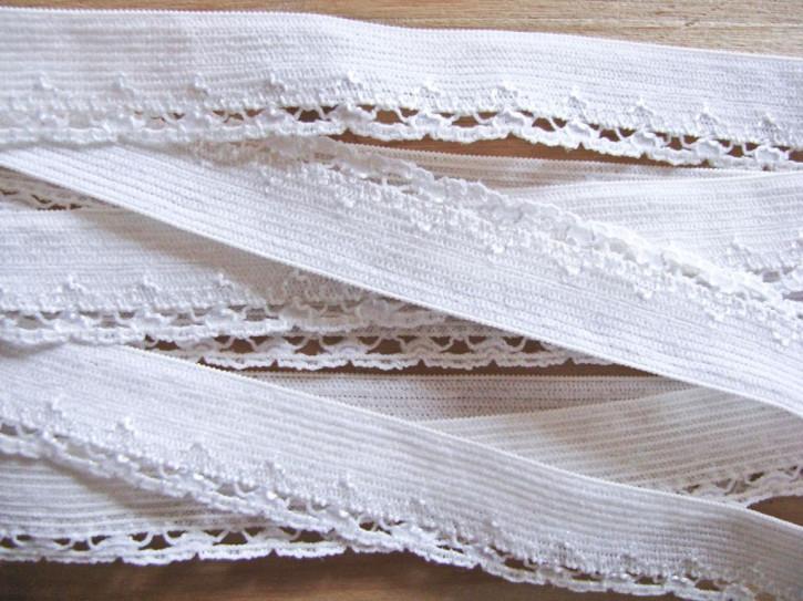 6m Spitzen-Wäschegummi in rein-weiß Fb2000