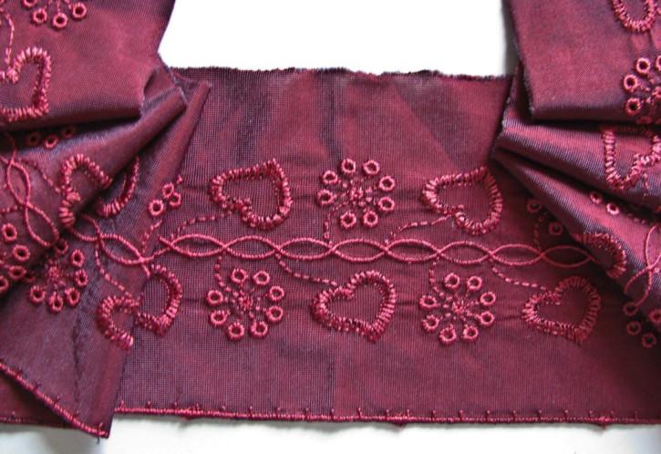 1m elastische Stickerei-Spitze in burgund Fb0166