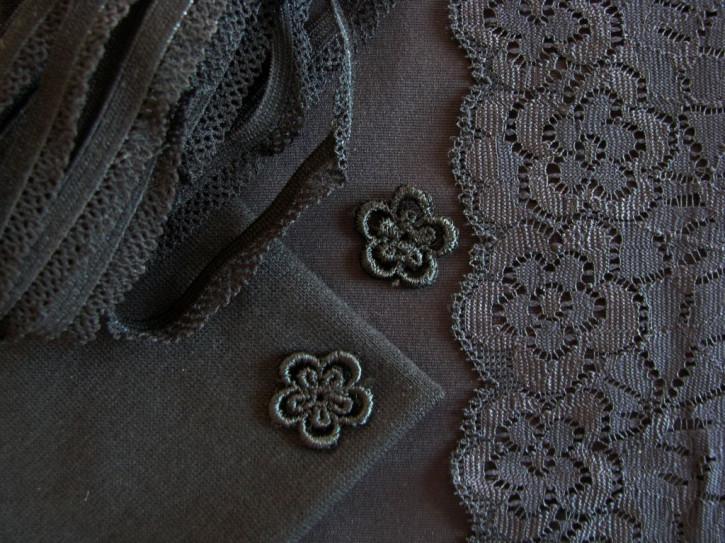 """1 Pkt. Materialpaket """"Black Flowers"""" - Slipset"""