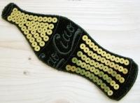 Bügel-Aufnäher -Ciao- mit Pailletten schwarz/gold