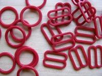 4 Schieber und 4 Ringe in nelken-rot