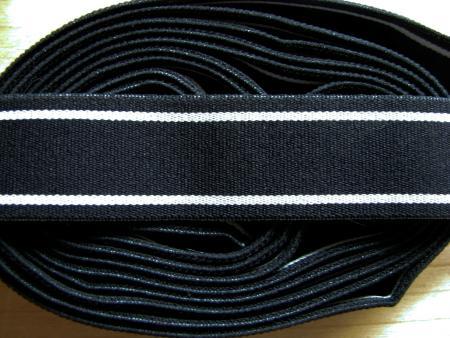 """4m Bundgummi in schwarz/weiß """"Strips"""""""