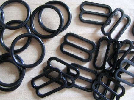 4 Schieber und 4 Ringe in schwarz - 10mm