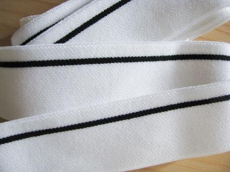 4m Bundgummi 30mm breit, in rein-weiß Fb2000, schwarzer Streifen