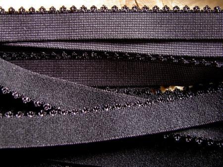 6m Unterbrustgummi in schwarz Fb4000 mit Schmuckkante