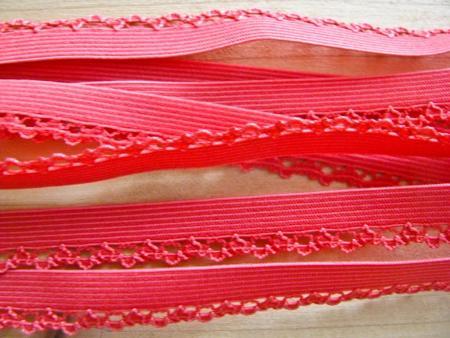 6m Schmuck-Wäschegummi in hummer-rot/dunkle melone Fb0104