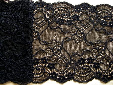 """1m elastische Spitze in schwarz Fb4000 """"Paisley"""""""