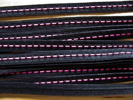 6m Zier-Gummi in schwarz Fb4000...pink