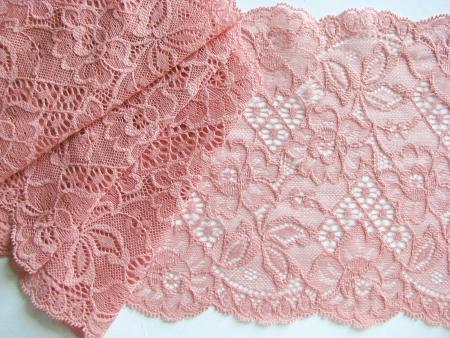 1m elastische Spitze in pudrigem blüten-rosa Fb1057