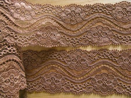 1m elastische Spitze in nuss-braun/chestnut Fb0281