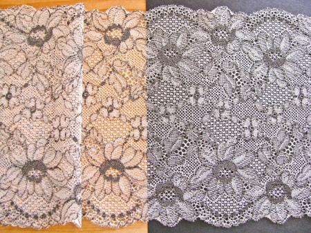 """1m elastische Spitze """"Flowers of Silver-Gray"""""""