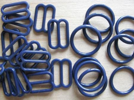4 Schieber und 4 Ringe in marine-blau Fb1305 - 12mm