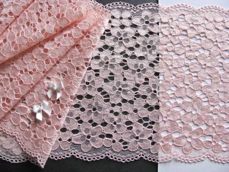 1m elastische Spitze in pudriger pfirsichblüte Fb0076
