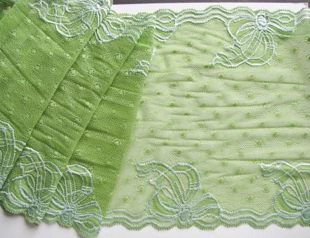"""1m elastische XL-Spitze """"Schleifchen"""" in apfel-grün Fb0092"""