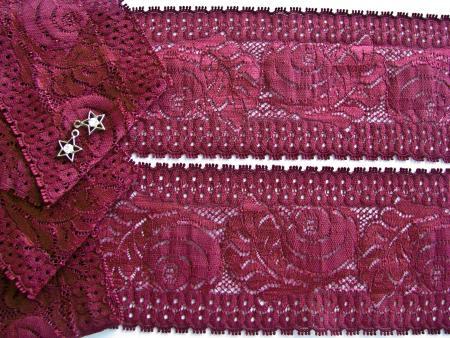 1m elastische Spitze Rosendesign in bordeaux Fb0111