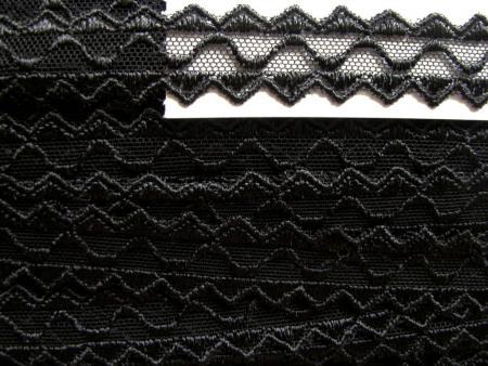 5m zarte Tüll-Spitzen-Borte zart bestickt in schwarz Fb4000