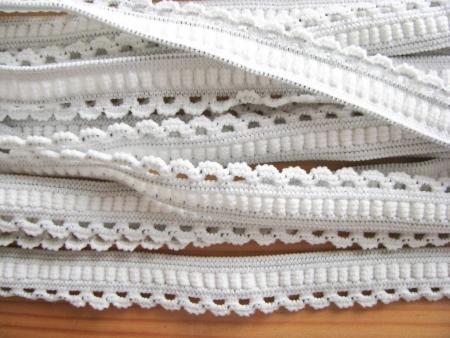 6m Schmuck-Wäschegummi in weiß/grau Fb2000