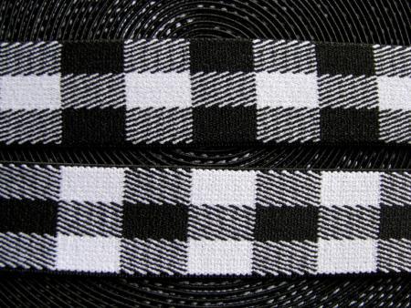 3m Bundgummi mit Karomuster in schwarz/weiß - 2,5cm