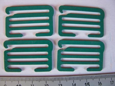 4 XL-Schieber/Haken Metall in grün