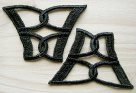 2 Stk. Spitzenapplikationen - Ätzspitze in schwarz Fb4000