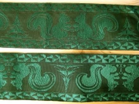 1m gewebte Jacquard-Borte in d.smaragd-grün Fb0240