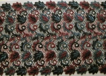 1m Makramee-Spitzen in anthrazit, grau und burgund