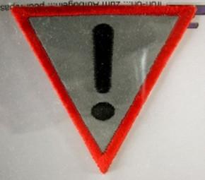 Safe-Bügelbild -Achtung- reflektierend
