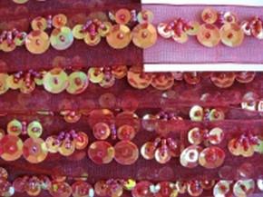 Oranzaband bestickt Pailletten und Perlen in rot