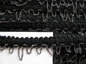 2m Borte mit Metall-Kettchen in schwarz Fb4000