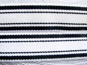 4m Bundgummi 25mm breit, in rein-weiß Fb2000, schwarzer Streifen