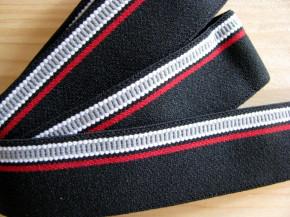 4m Bundgummi 30mm breit, in schwarz Fb4000, grau, weiß und rot