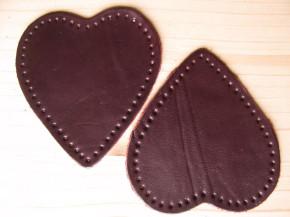2 Stk. Lederherzen Flicken zum Aufnähen in dunklem bordaux Fb0111
