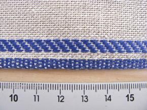1m Leinen-Stickband in natur-leinen mit Kante in blau - 11cm