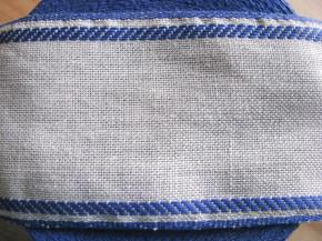1m Leinen-Stickband in natur-leinen mit Kante in blau - 8,5cm