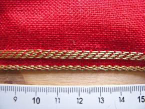 1m Leinen-Stickband in rot mit Gold-Kante - 7,2cm