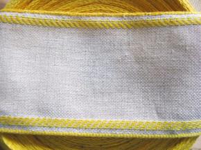 1m Leinen-Stickband in natur-leinen mit Kante in gelb - 8,2cm