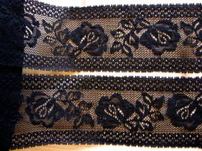 """1m elastische Spitze """"Roses"""" in schwarz Fb4000"""