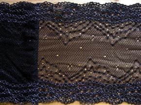 """1,1m elastische Spitze """"Black Glittering"""""""