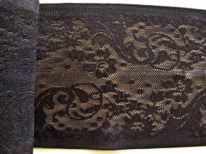 1m elastische Spitze mit Silikonstreifen in schwarz Fb4000