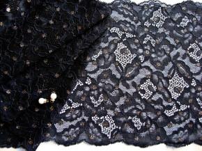 "1m elastische Spitze ""Black Glittering"" - 20,5cm"