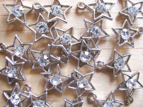 2 Stk. Sterne in silber/Metall mit Glitzerstein