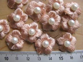 4 Blümchen in pfirsichblüte mit kl. Perle Fb0081