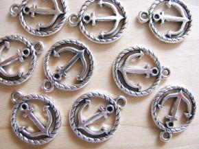 2 Stk. Charmes - Anker in silber/Metall