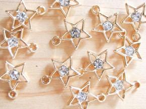 2 Stk. Sterne in gold/Metall mit Glitzerstein