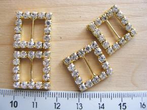 1 Paar/2 Stk. Strass-Verzierungen/Schnalle in gold