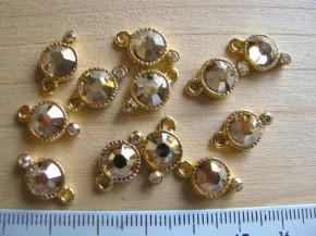 2 Stk. Zierteile/Charmes in gold/Metall mit Glitzersteinen