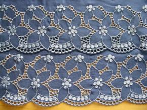 2m gegengleiche BW-Stickerei-Spitze in jeans-blau Fb1467