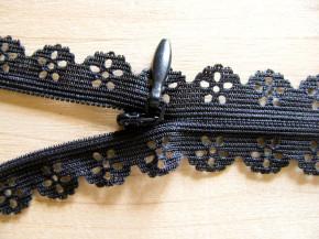 1 Stk. Spitzen-Reißverschluss in schwarz Fb4000 - 20cm