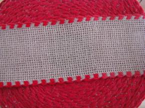 1m Stickband AIDA in natur mit roter Kante - 4,5cm