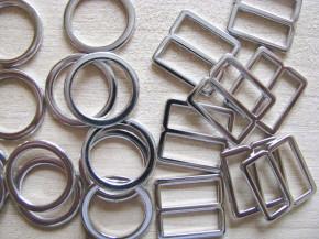4 Schieber und 4 Ringe silber - 12mm